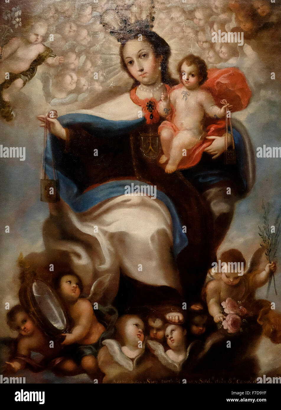 Our Lady of Mt. Carmel - Signed by Miguel Jeronimo Zendejas - Puebla, Mexico 1772 - Stock Image