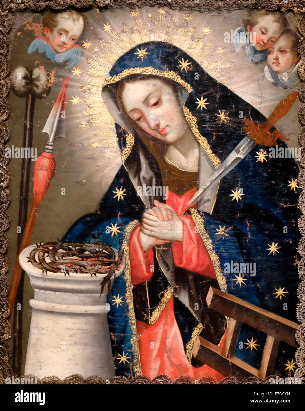Virgin of Sorrows - Anonymous - Ecuador - Date Unknown Stock Photo