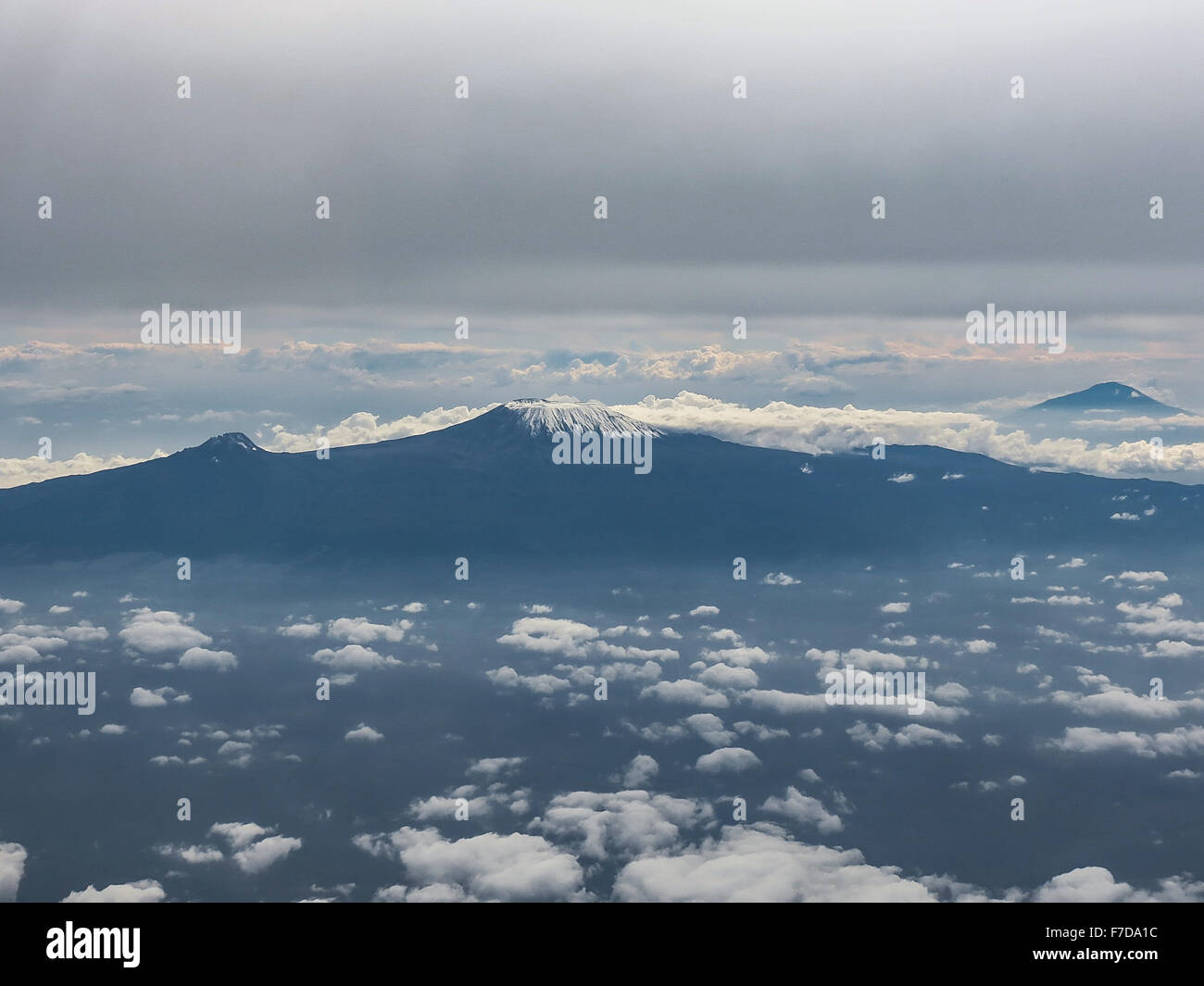 Mount Kilimanjaro seen from a plane - Stock Image