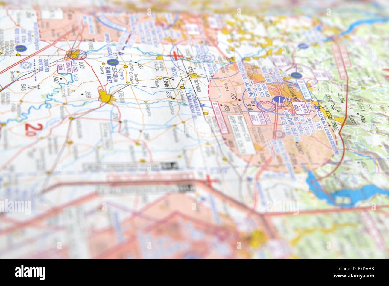 Aircraft navigation chart - Stock Image