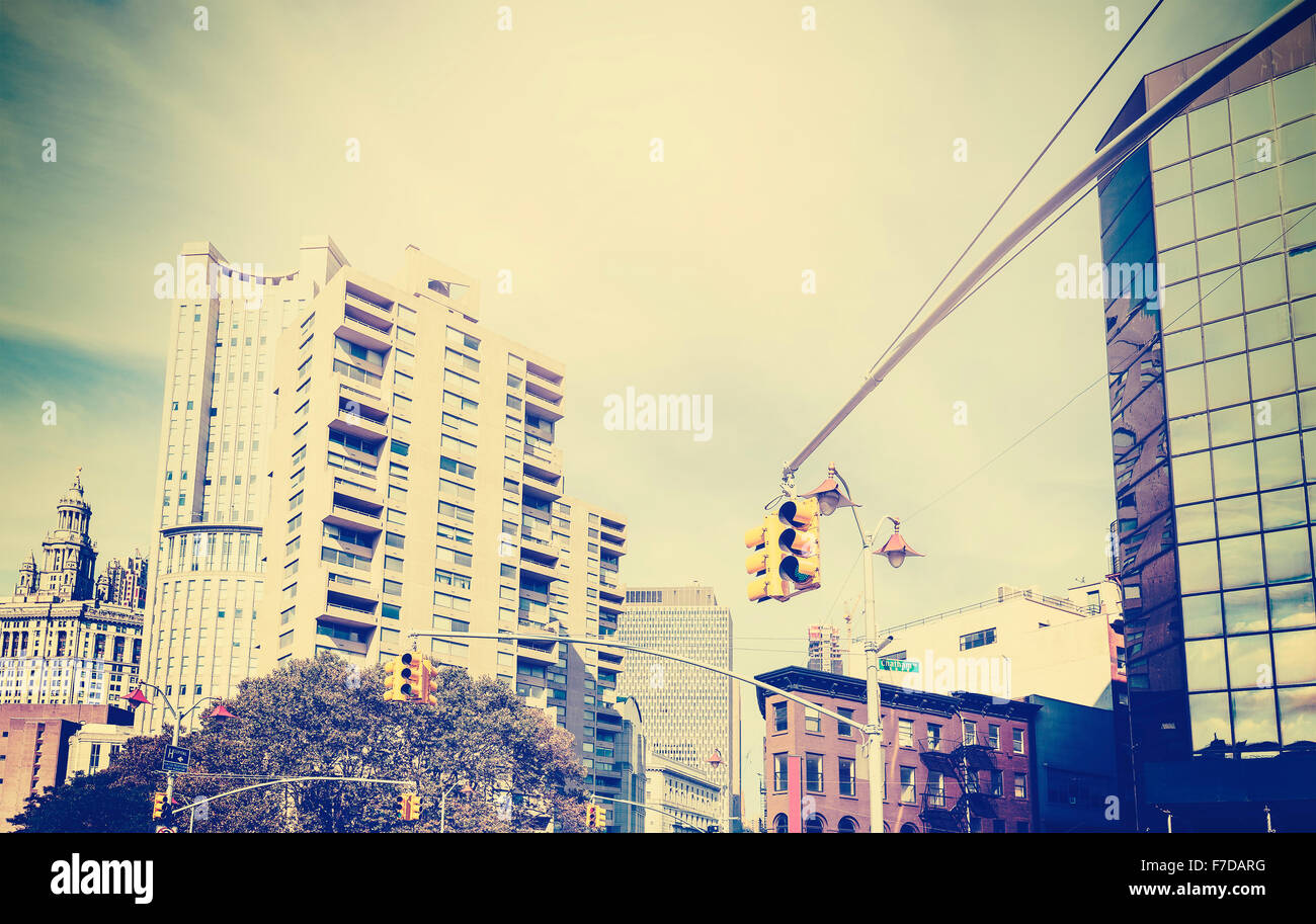 Cross processed grunge style photo of street in New York, USA. - Stock Image