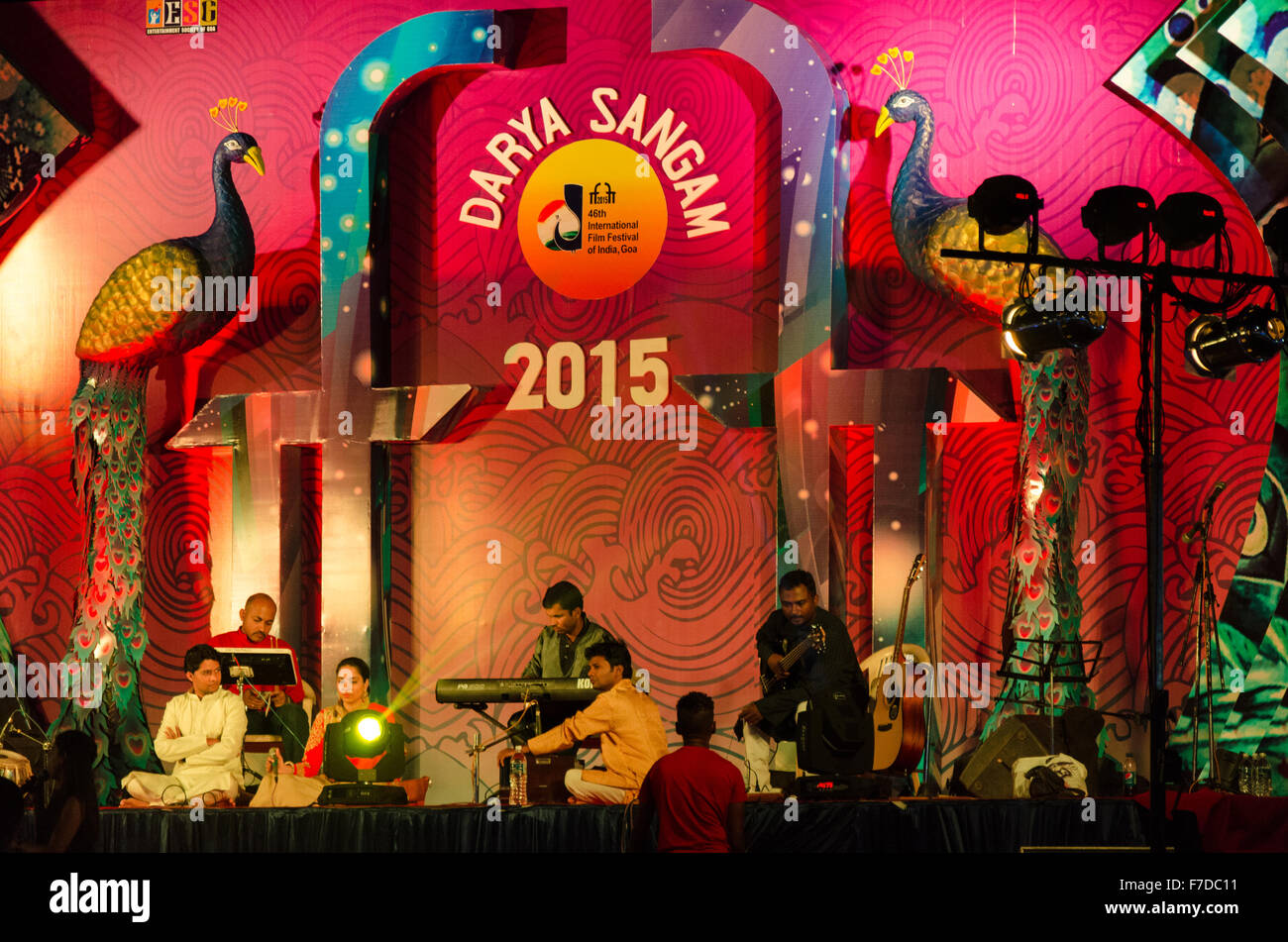 Artists performing in an open air venue namely Darya Sangam, for the 46th edition of International Film Festival - Stock Image