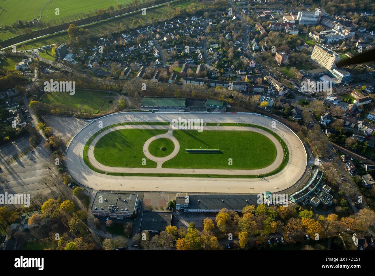 the trotting Dinslaken, Dinslaken Ruhr region North Rhine Westphalia Germany Europe aerial view birds-eyes view - Stock Image