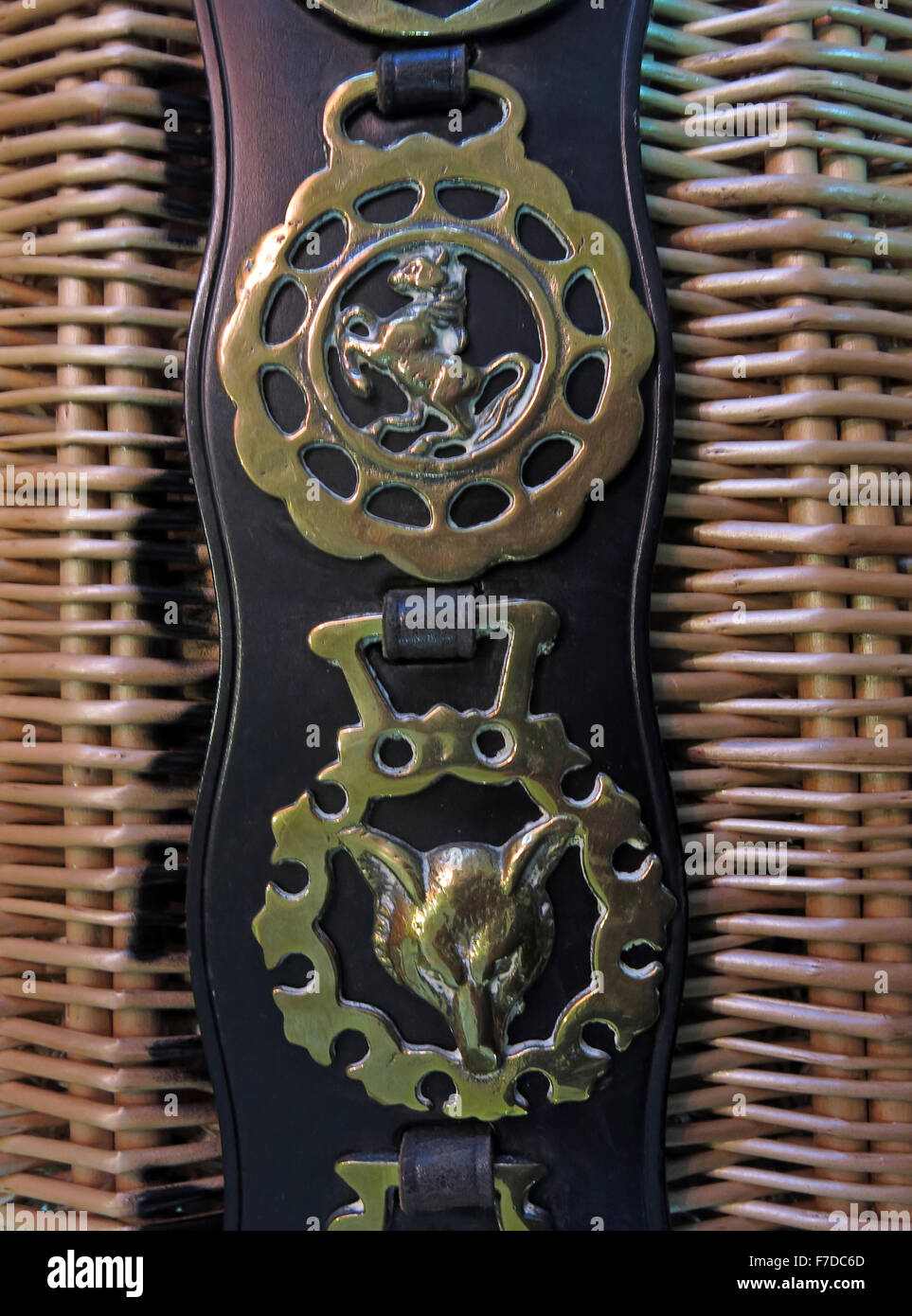 Old vintage horse brasses,on leather harness. Fox & Horse on wicker basket - Stock Image