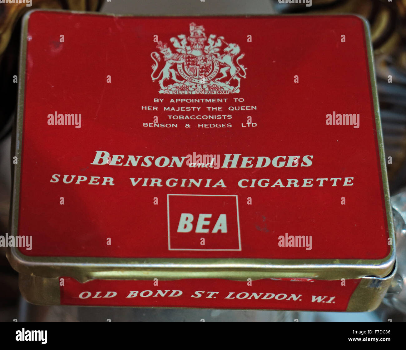 BEA Benson and Hedges Cigarette Tin from 1973 - Stock Image