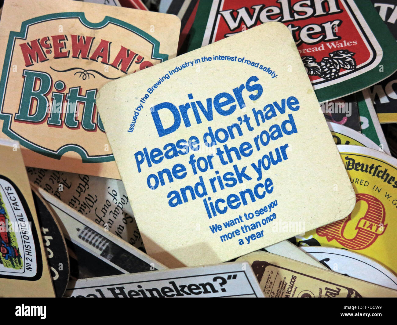Drink Driving,British Beer mats / Drip mats from small local breweries - Stock Image