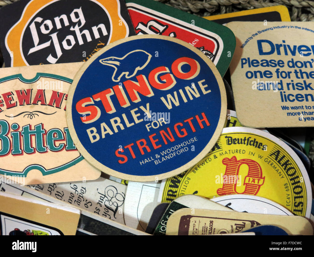 Stingo Barley Wine,British Beer mats / Drip mats from small local breweries - Stock Image