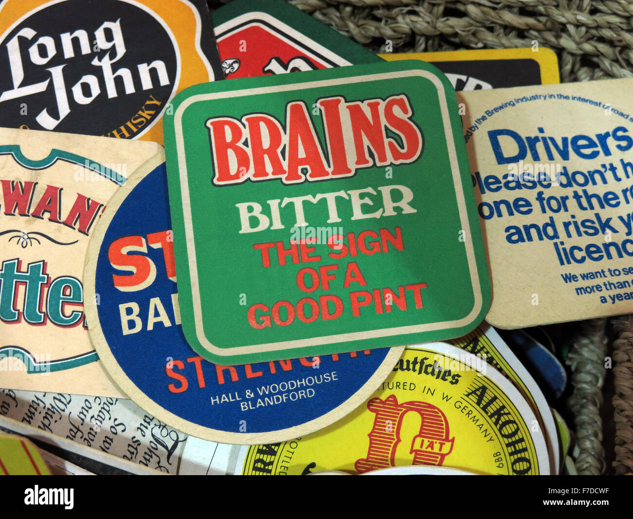 Brains Bitter,British Beer mats / Drip mats from small local breweries Stock Photo