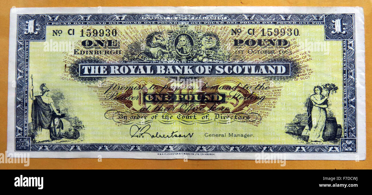 Old Royal Bank Of Scotland PLC,£1,note 1965, UK,signed by Robertson,yellow - Stock Image