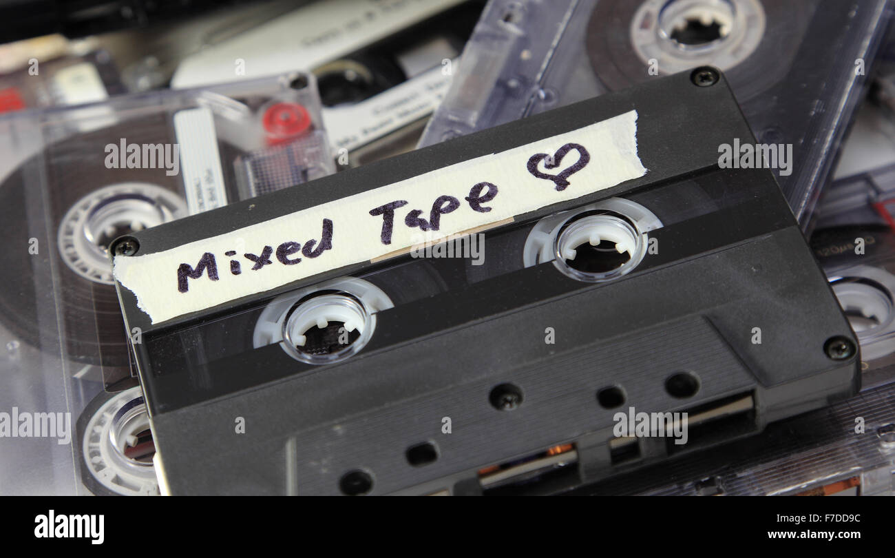 An old mixed tape found amongst a pile of audio cassettes. Stock Photo