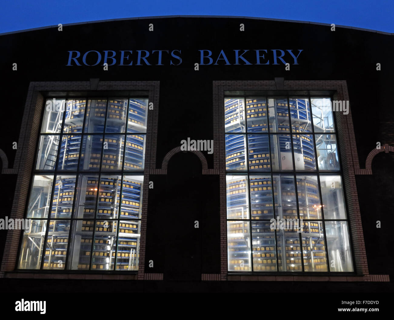 Bread cooler in bakery food factory, Northwich,Cheshire,England, UK - Stock Image