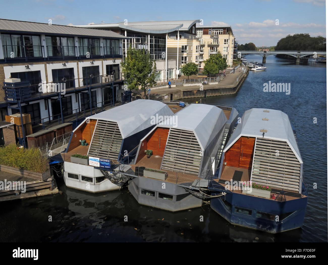 Houseboats Kingston upon Thames, London, England,UK Two bedroom Stock Photo