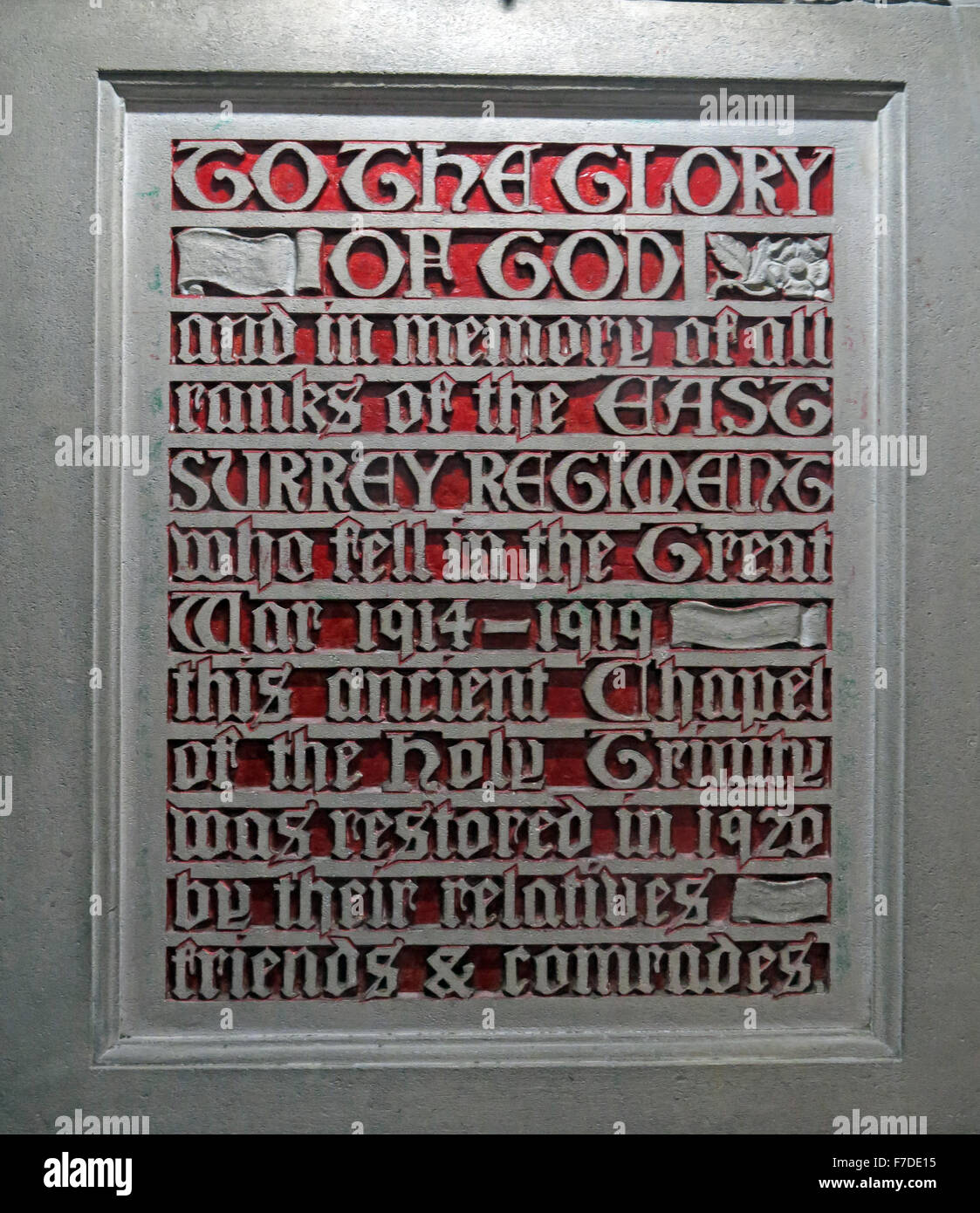 All Saints Church Kingston, To The Glory of God, and in the memory of all ranks of the East Surrey Regiment Stock Photo