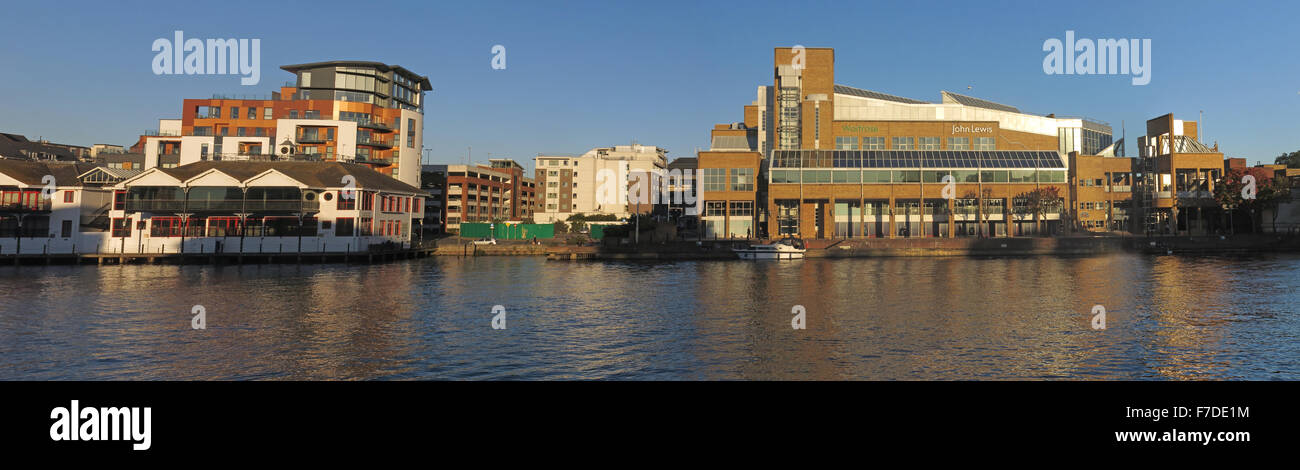 Pano of River Thames at Kingston-upon-Thames,West London,England,UK incl John Lewis Stock Photo