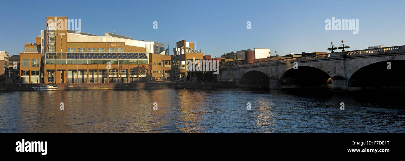 Pano of River Thames at Kingston-upon-Thames,West London,England,UK incl John Lewis - Stock Image