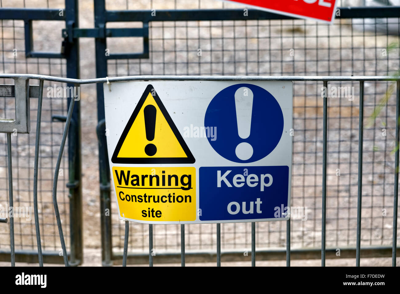 Warning Keep Out Construction Site Sign, Bristol, United Kingdom. - Stock Image