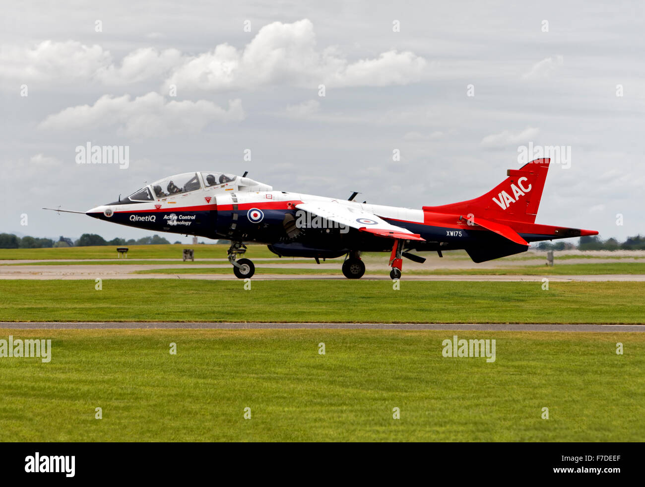 A QinetiQ VAAC Harrier T4, XW175, lands at the Royal Naval Air Station Yeovilton in Somerset for the start of the - Stock Image