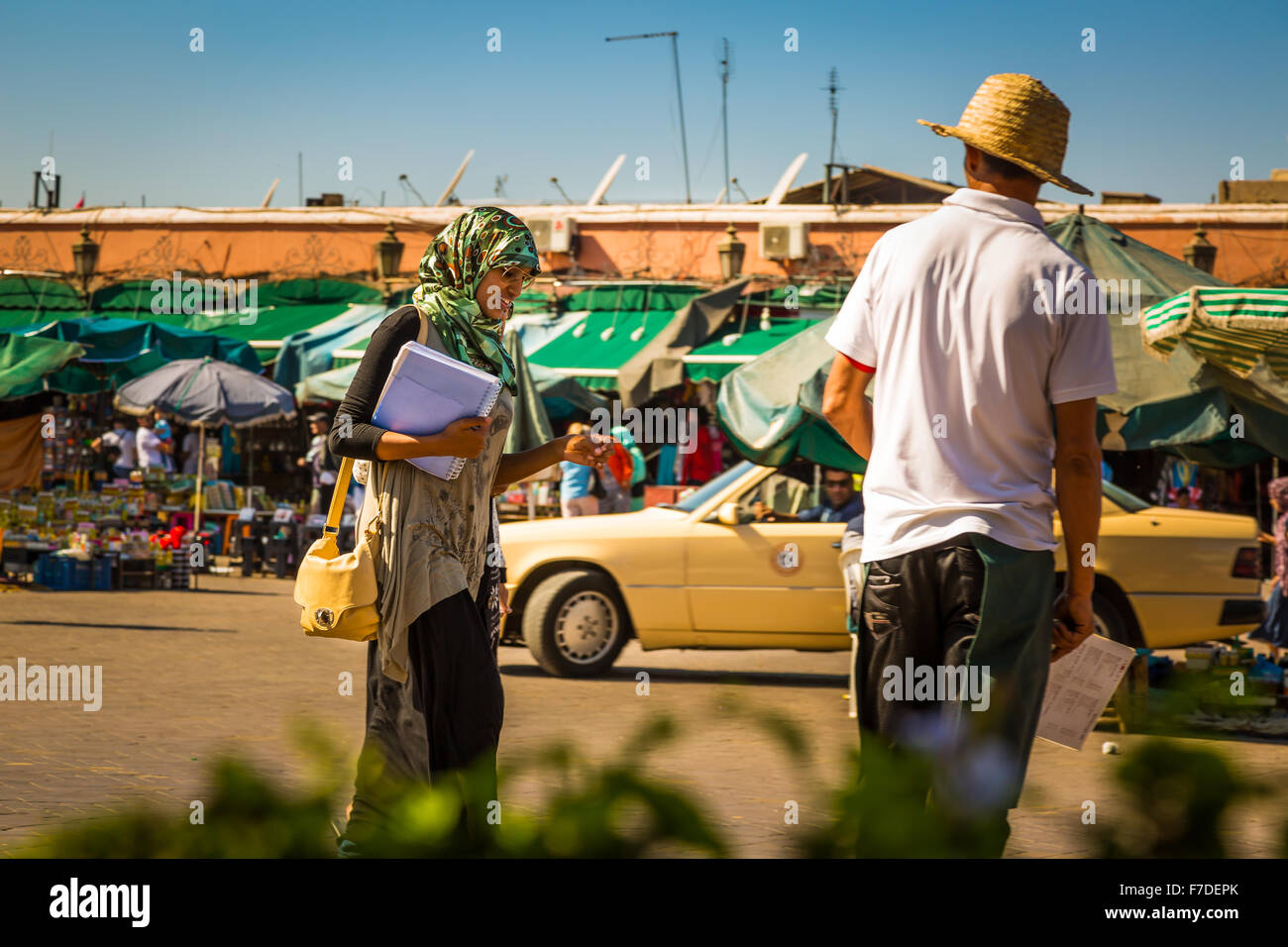 Student at the Jemaa el Fna square in Marrakesh Stock Photo