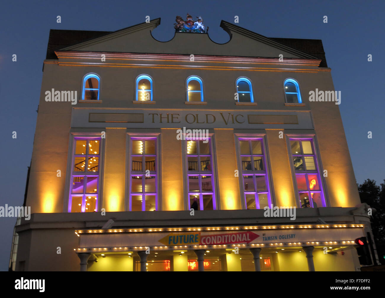 The Old Vic Theatre at dusk,Waterloo Rd,Borough of Lambeth,Greater London,England UK Stock Photo