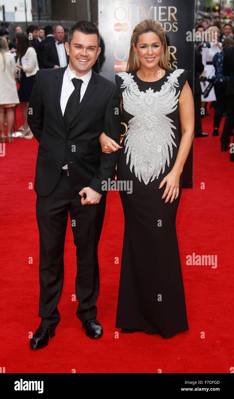 Apr 12, 2015 - London, England, UK - Claire Sweeney and Paul Sylvester attending The Olivier Awards 2015, Royal - Stock Image