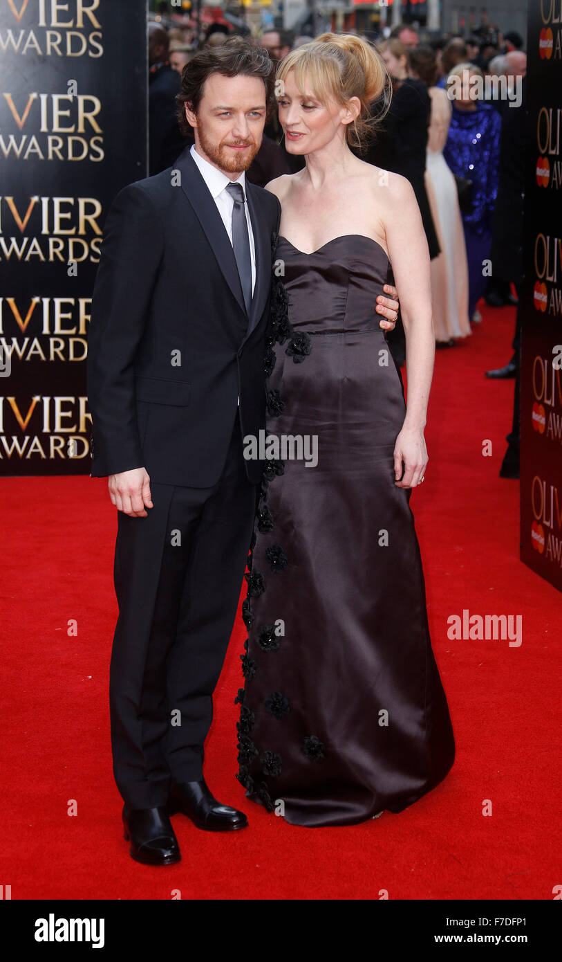 Apr 12, 2015 - London, England, UK - James McAvoy and Anne-Marie Duff attending The Olivier Awards 2015, Royal Opera - Stock Image