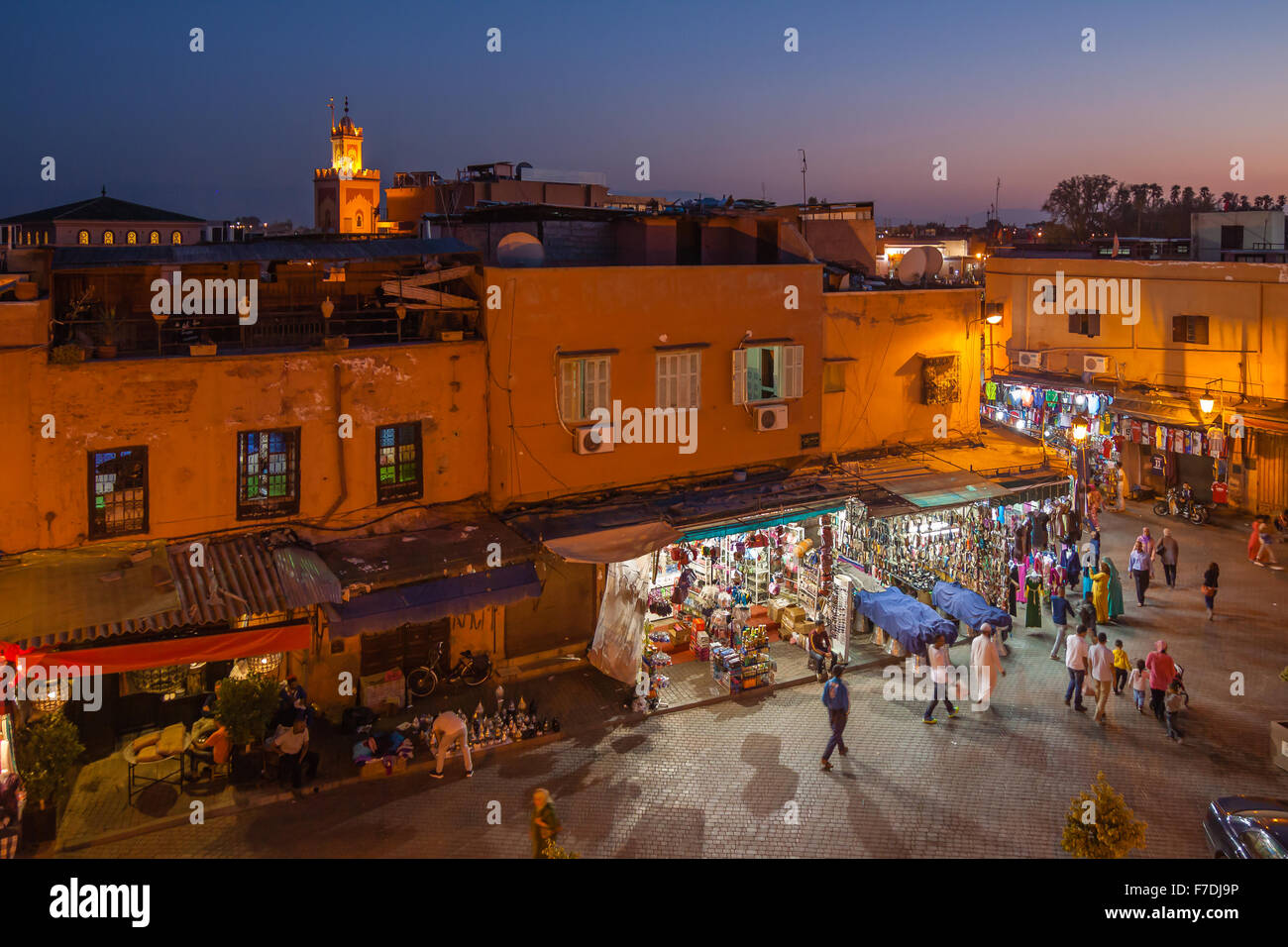 Night Square Marrakesh medina with the last tourists Stock Photo