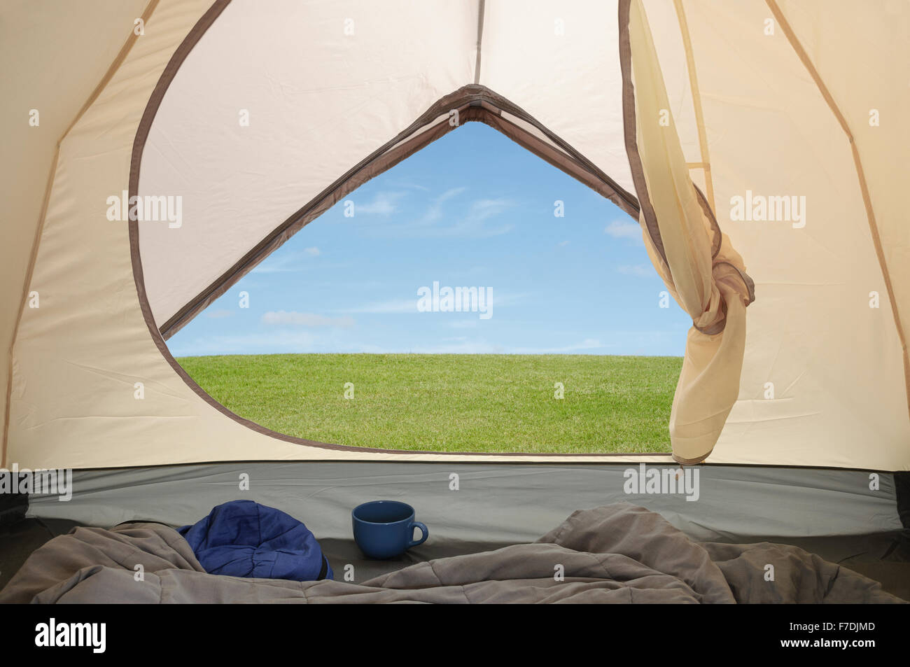 View inside tent through tent door on tranquil c&ing c&site & View inside tent through tent door on tranquil camping campsite ...