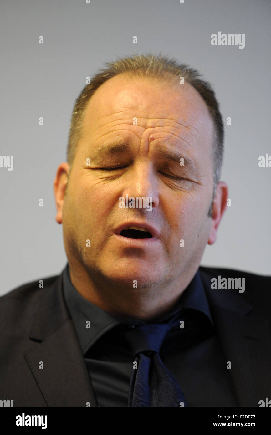 Neville Wilshire star of TV show the Call Centre. - Stock Image