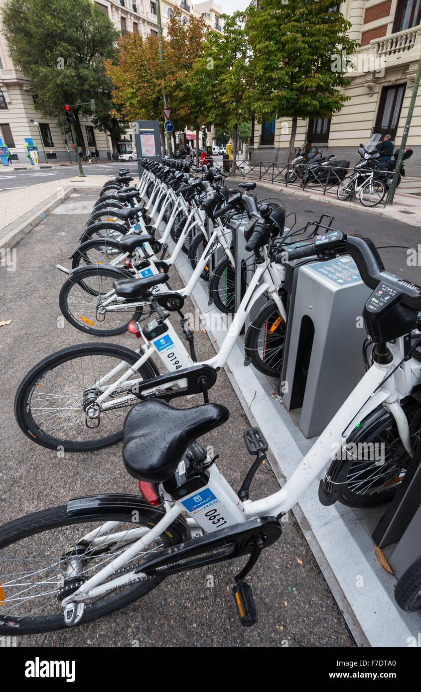 BiciMad. Madrid's electric bicycle rental public transport sytem. Madrid, Spain. - Stock Image
