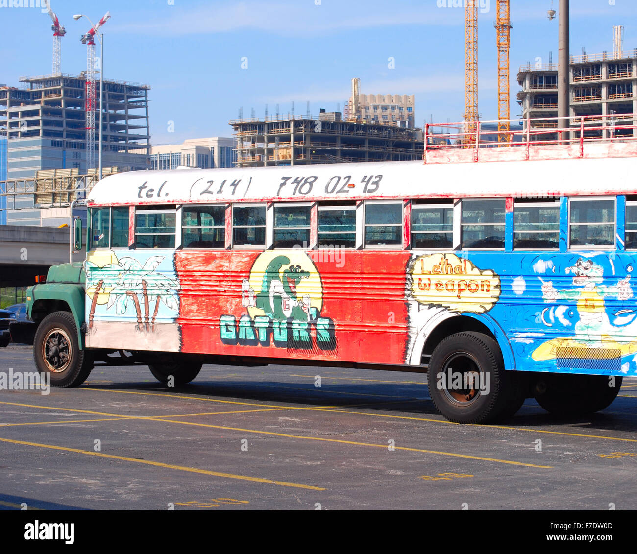 Colorful bus from Gator's Restaurant in downtown Dallas, TX. - Stock Image