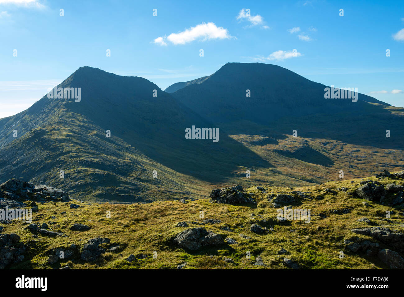 A' Chioch and Ben More from near the summit of Beinn Fhada, Isle of Mull, Argyll and Bute, Scotland, UK - Stock Image