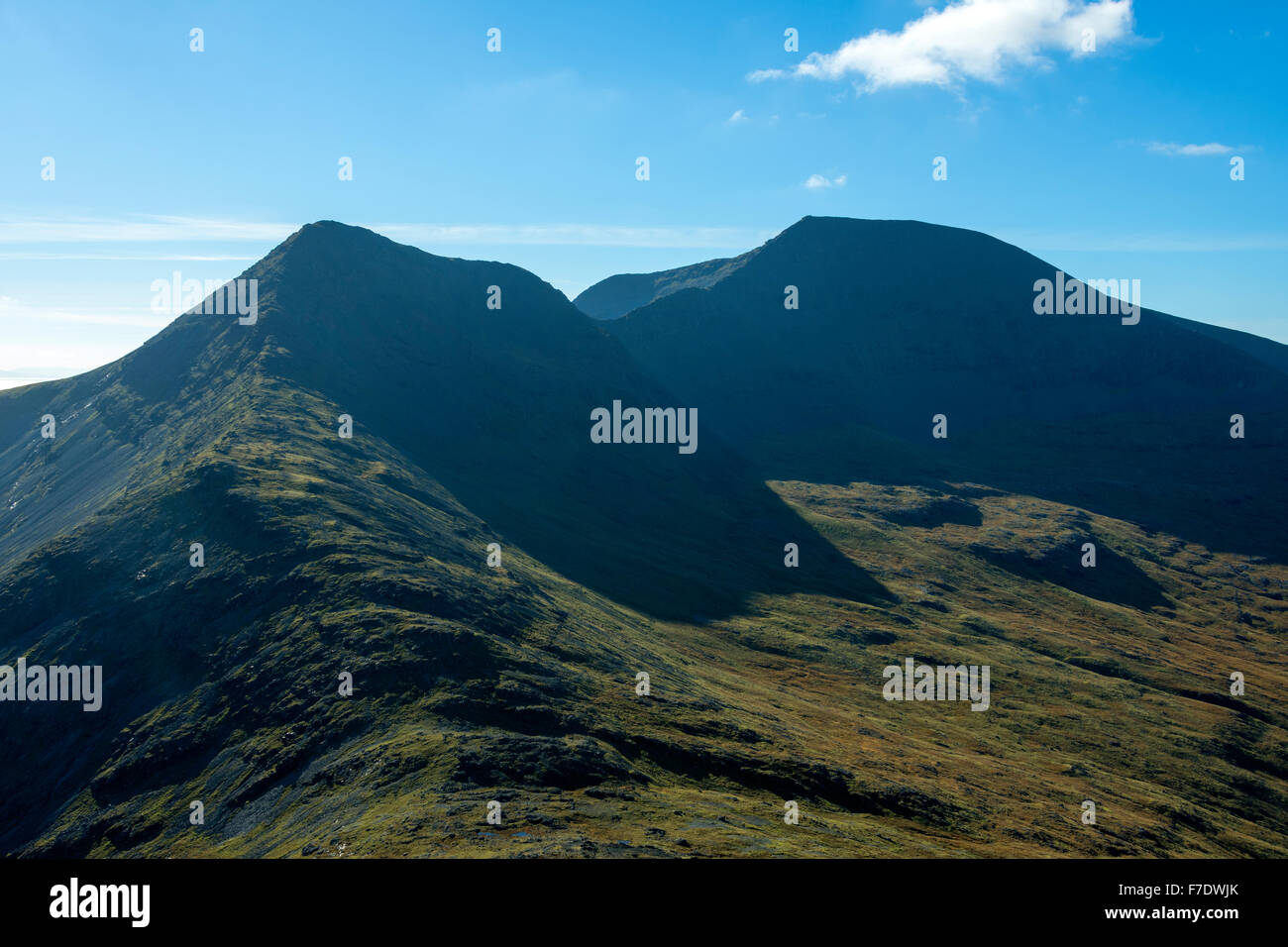 A' Chioch and Ben More from the summit of Beinn Fhada, Isle of Mull, Argyll and Bute, Scotland, UK - Stock Image
