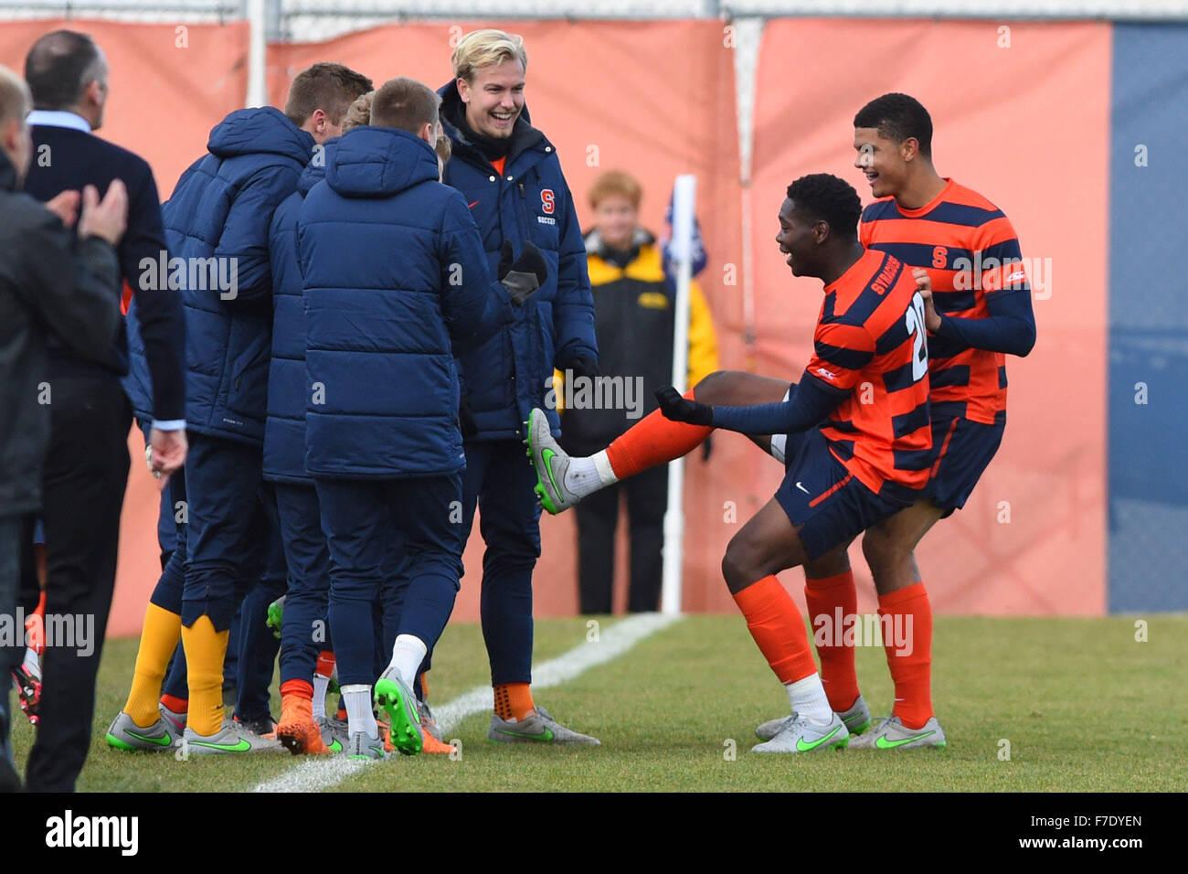 Syracuse, New York, USA. 29th Nov, 2015. Syracuse Orange defender Kamal Miller (20) celebrate a goal with teammates - Stock Image