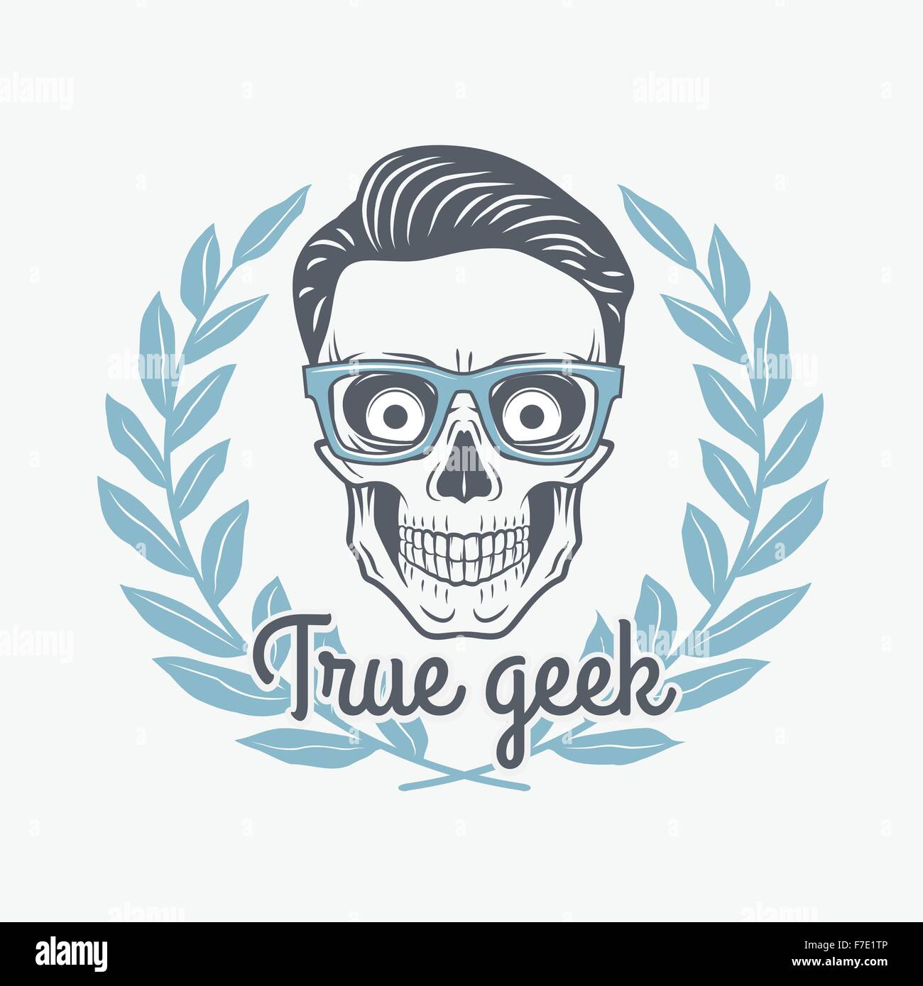 True geek skull vector with hipster glasses and laurel leafs. Crazy ...