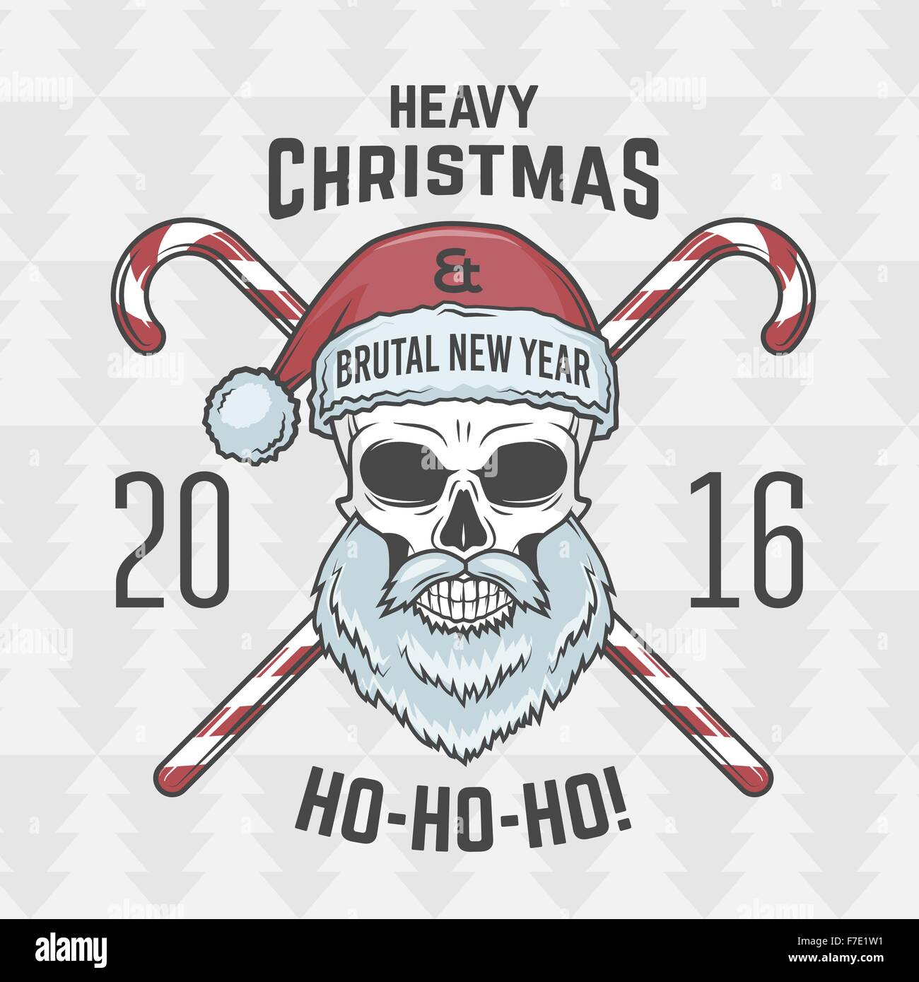 Heavy Metal Christmas.Bad Santa Claus Biker With Candies Print Design Vintage