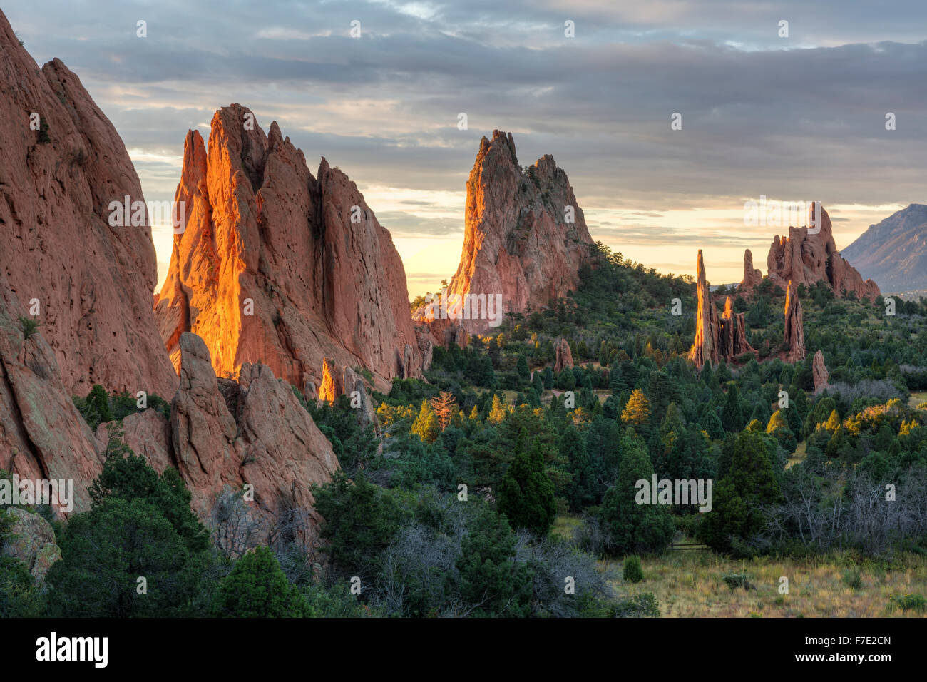 Sunrise On The Red Rocks Formations Of The Garden Of The Gods In