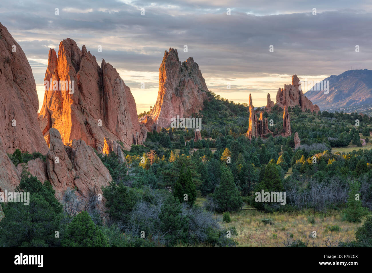 Sunrise on the red rocks formations of the Garden of the Gods in Colorado Springs, Colorado - Stock Image