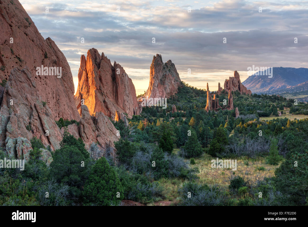 Sunrise on the red rocks formations of the Garden of the Gods in Colorado Springs, Colorado Stock Photo