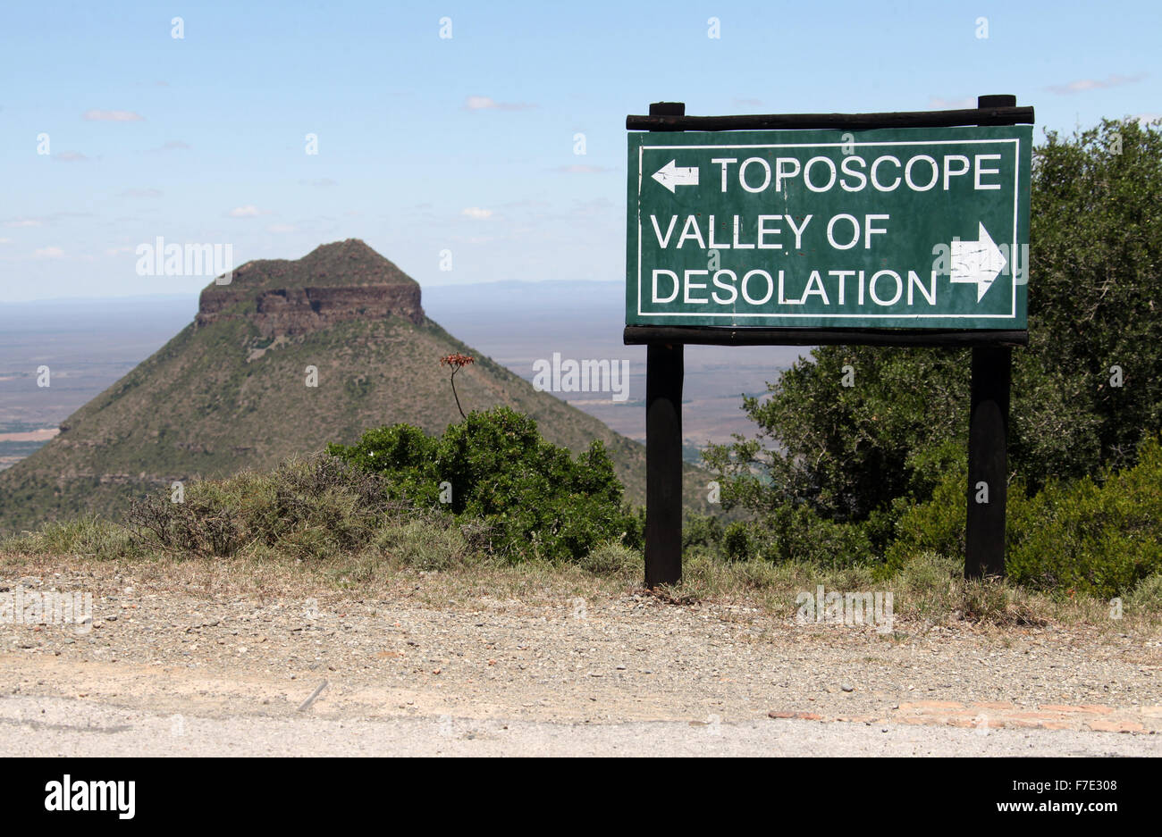 Sign at Camdeboo National Park in the Great Karoo of South Africa - Stock Image
