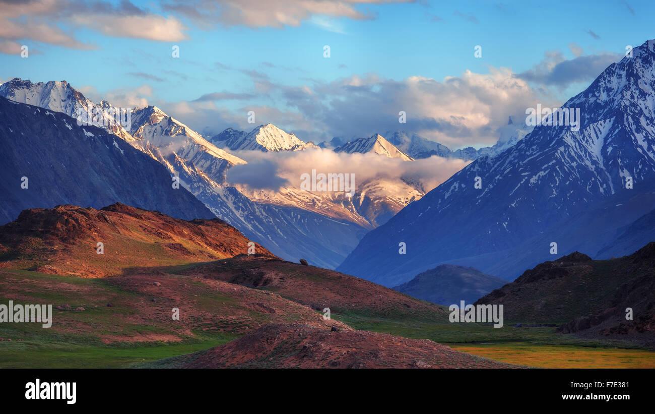 beauty pink sunset on himalaya mountain - Stock Image