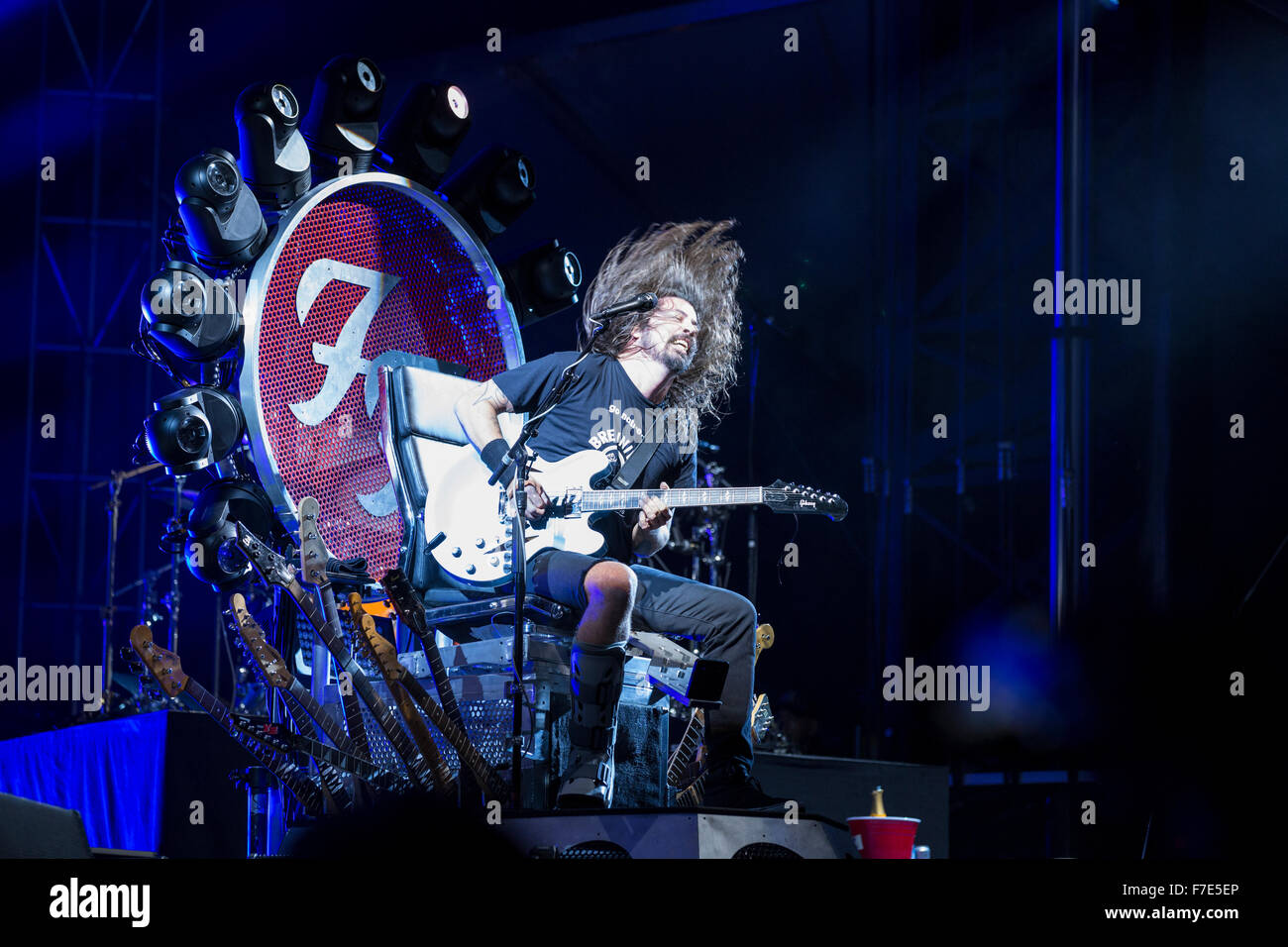 Dave Grohl of the Foo Fighters in concert - Stock Image