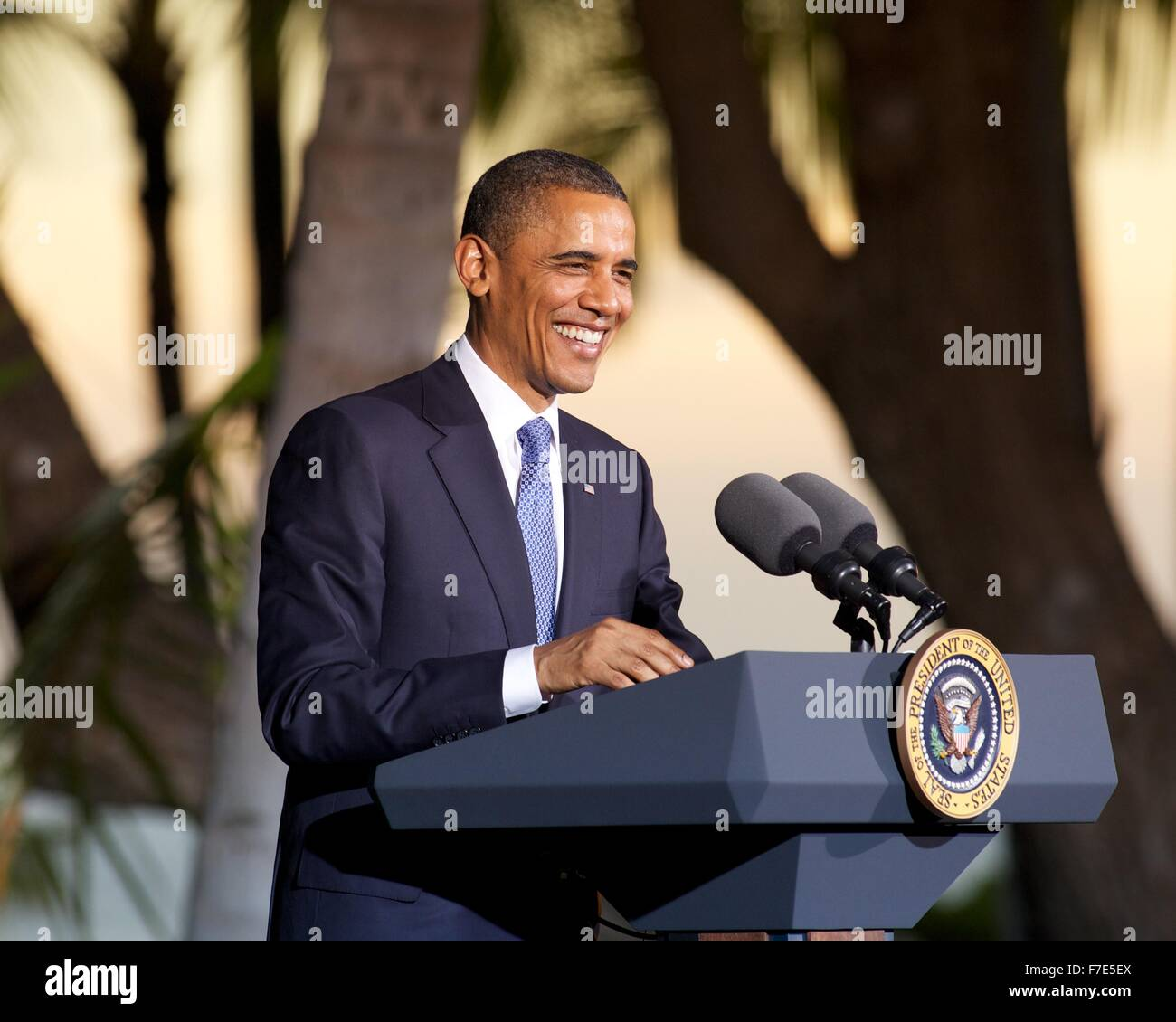 Concluding Press Conference by President Barack Obama at APEC Conference in Honolulu, HI - Stock Image