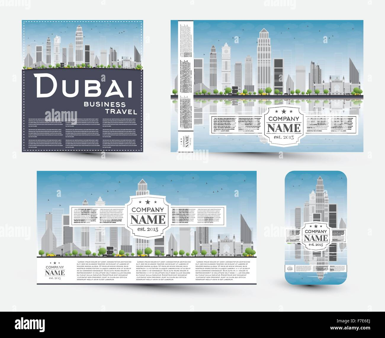 Template business card silhouette skyline stock photos template corporate identity templates set with dubai skyline vector illustration business travel and tourism concept reheart Choice Image