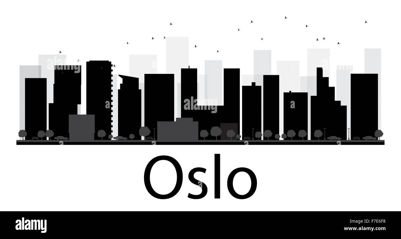 Oslo City skyline black and white silhouette. Vector illustration. Simple flat concept for tourism presentation, - Stock Vector