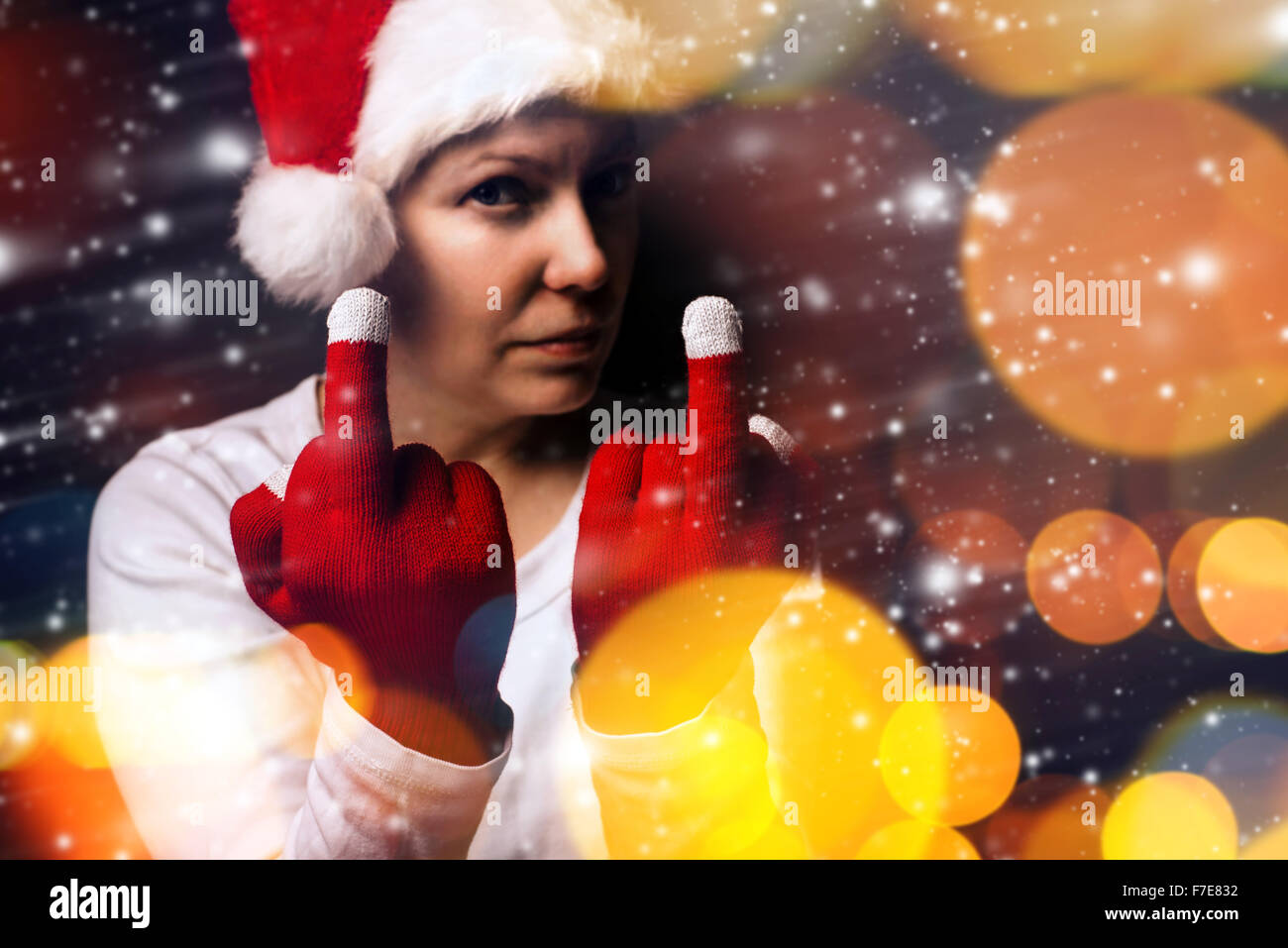Christmas gift is late this year, young adult woman in Santa Claus ...