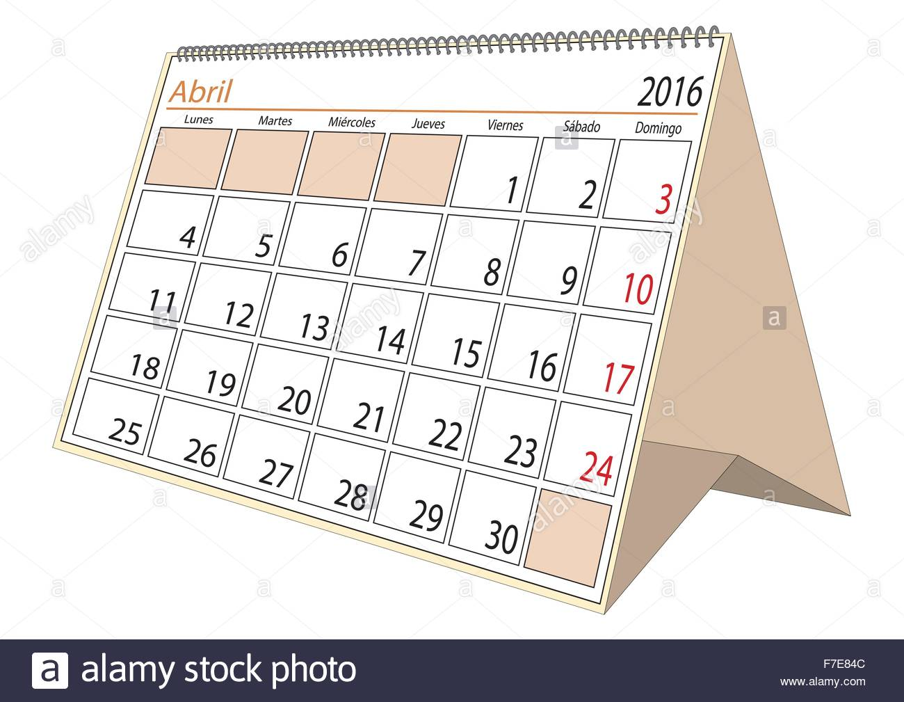 april sheet in an spanish desk calendar for year 2016 montly