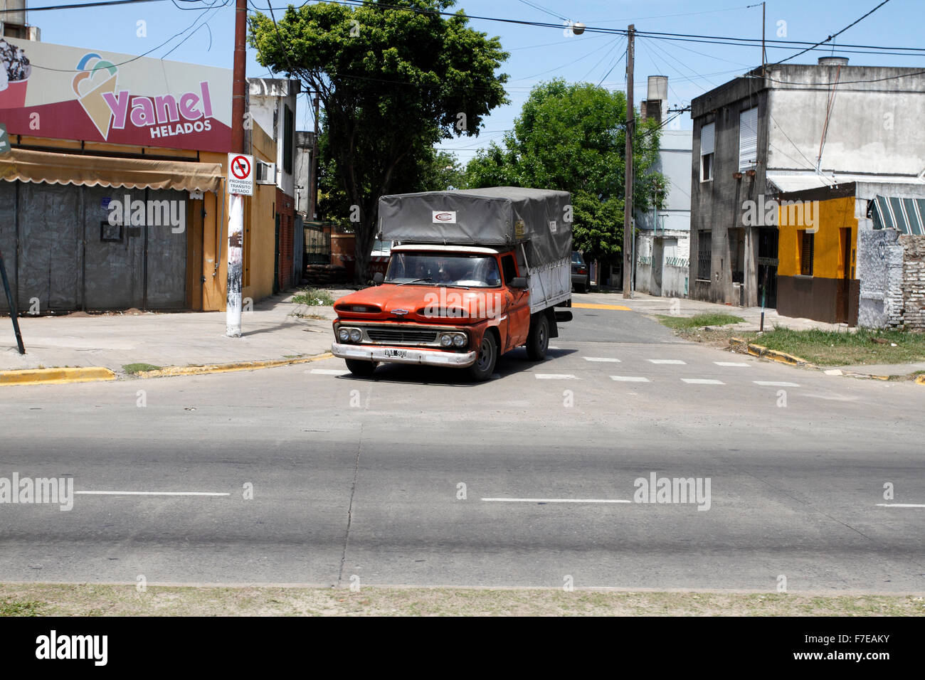 old pick up truck driving out of a side-road Stock Photo: 90670159 ...
