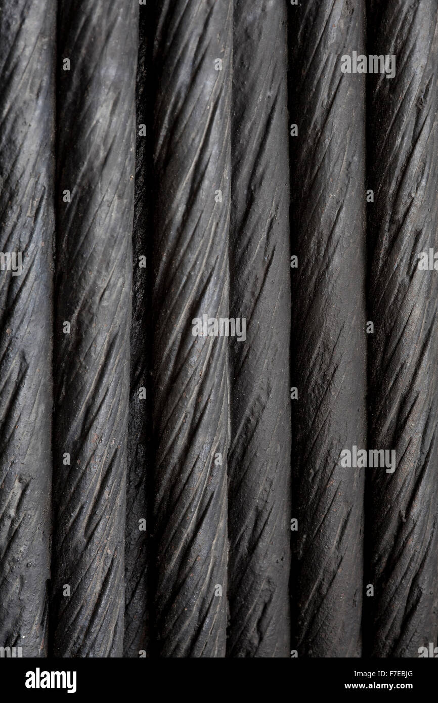 black steel cable background or abtract texture - Stock Image