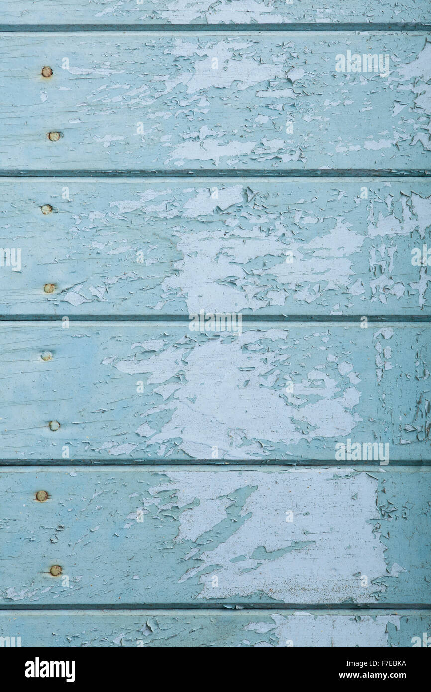 old turquoise wooden texture or painted planks background - Stock Image
