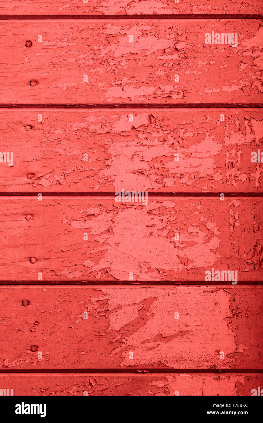 old red wooden texture or painted planks background - Stock Image